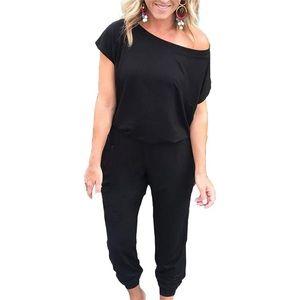 Pants - Off the shoulder black jumpsuit